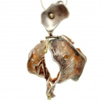 One of a kind handmade pendant with cabochon citrine.