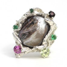 sterling silver,mother pearl,,garnet,emerald,peridot, tourmaline