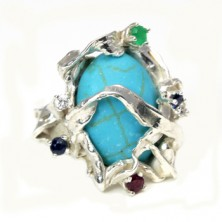sterling silver ring with emerald,ruby,sapphire,diamond and turquoise.