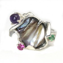 sterling silver ring with amethyst,emerald and tourmaline.