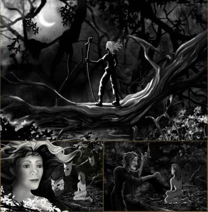 black and white,digital illustration